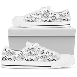 Black & White Bicycle Women's Low Top Shoe - WearItArt - shoes