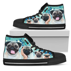Blue Pugs Women's High Top - WearItArt - shoes