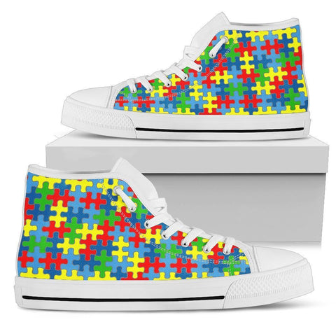 Colorful Autism Support - Women's High Top Shoes - WearItArt - shoes