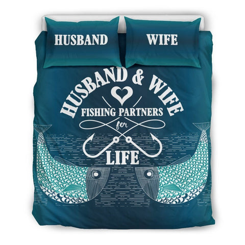 Image of Fishing Partners For Life - Bedding Set - WearItArt - Bedding Set
