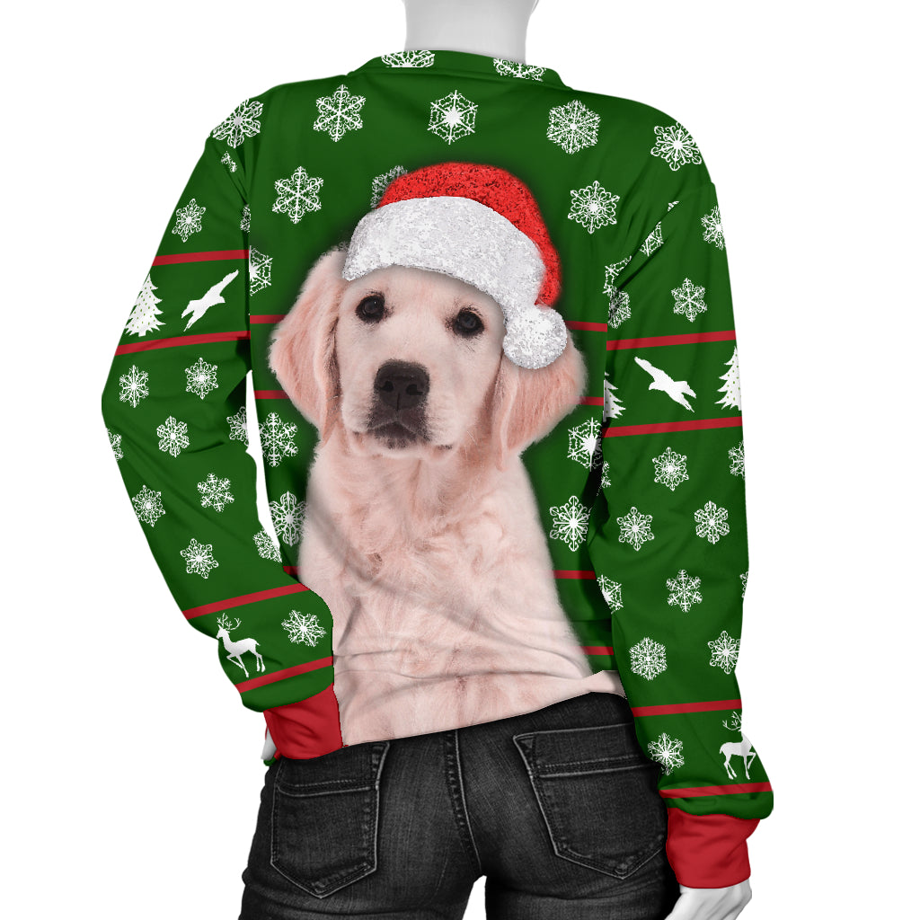 Santa Golden Retriever Womens Christmas Sweater