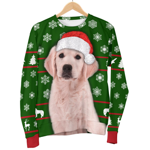 Image of Santa Golden Retriever Womens Christmas Sweater