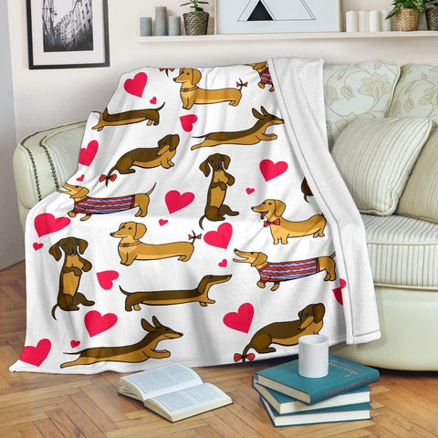 Image of Funny Dachshund Sausage Blanket Sofa For Dog Puppy Lovers - WearItArt - Blanket
