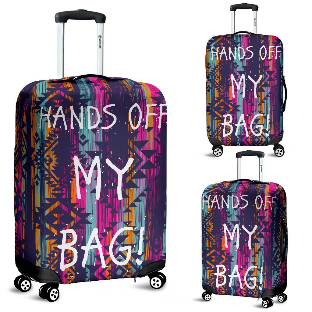 Hands Off Luggage Cover Aztec Pattern - WearItArt - Luggage Covers