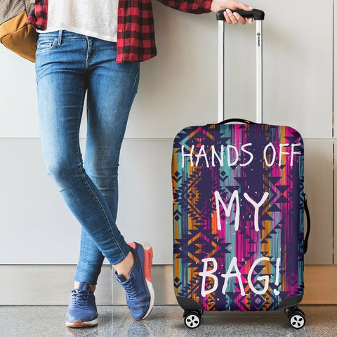 Image of Hands Off Luggage Cover Aztec Pattern - WearItArt - Luggage Covers