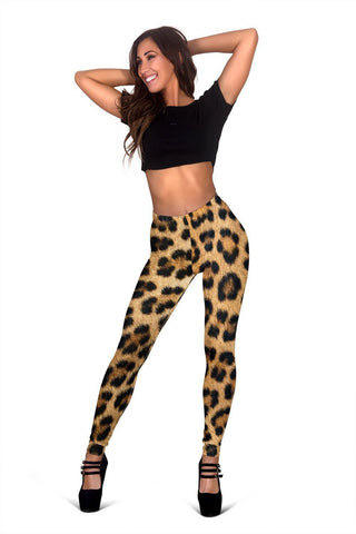 Leopard Fur Print Leggings - WearItArt - leggings