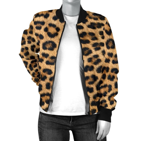 Image of Leopard Fur Print Womens Bomber Jacket - WearItArt - Jacket