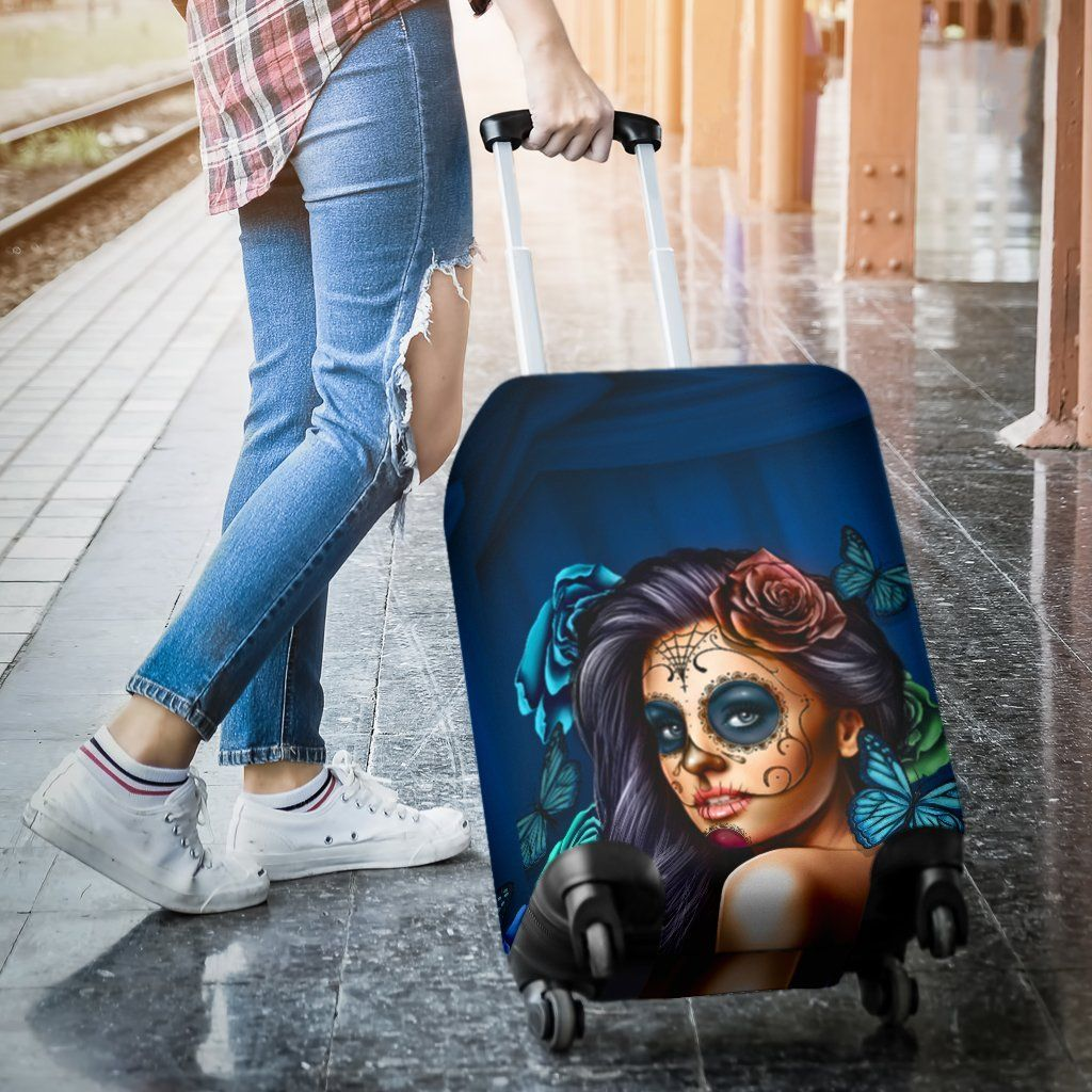 Luggage Covers Calavera Teal - WearItArt - Luggage Covers