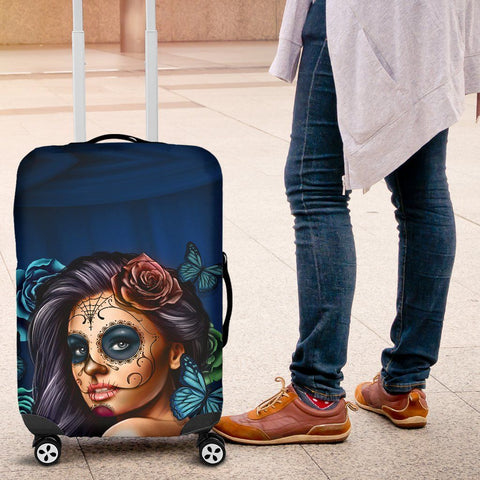Image of Luggage Covers Calavera Teal - WearItArt - Luggage Covers
