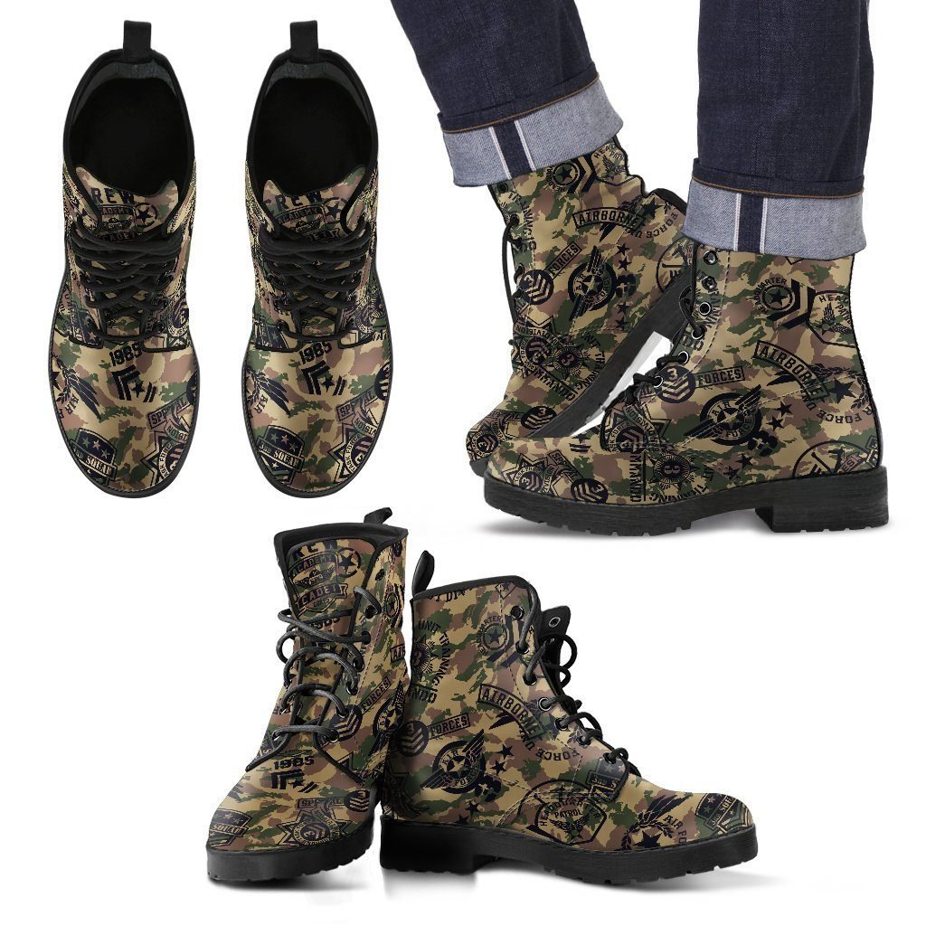 Military Shoes Camouflage Design Men's Leather Boots - WearItArt - Boots