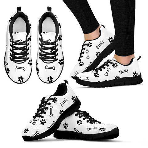 Paw prints and bone Women's Sneakers - WearItArt - shoes