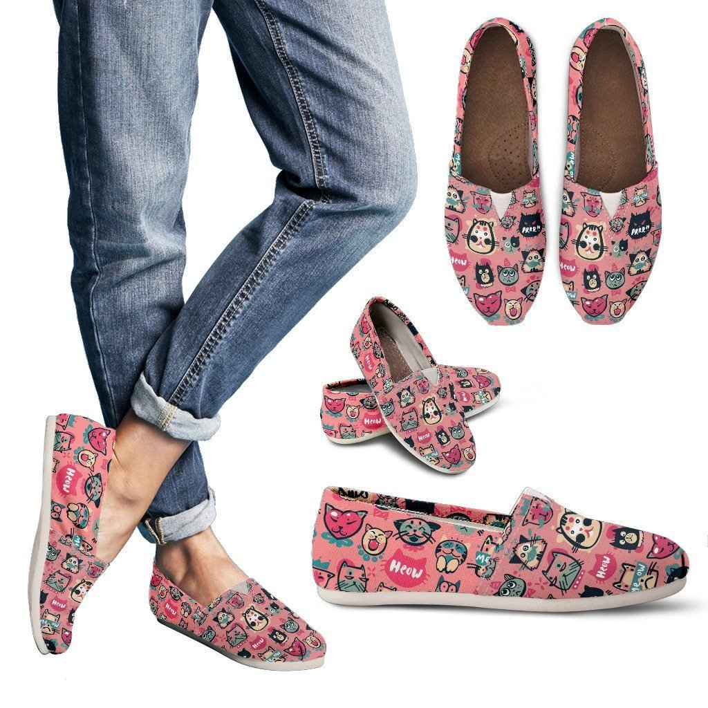Pink Meow Cat Women's Casual Shoes - WearItArt - Casual Shoes