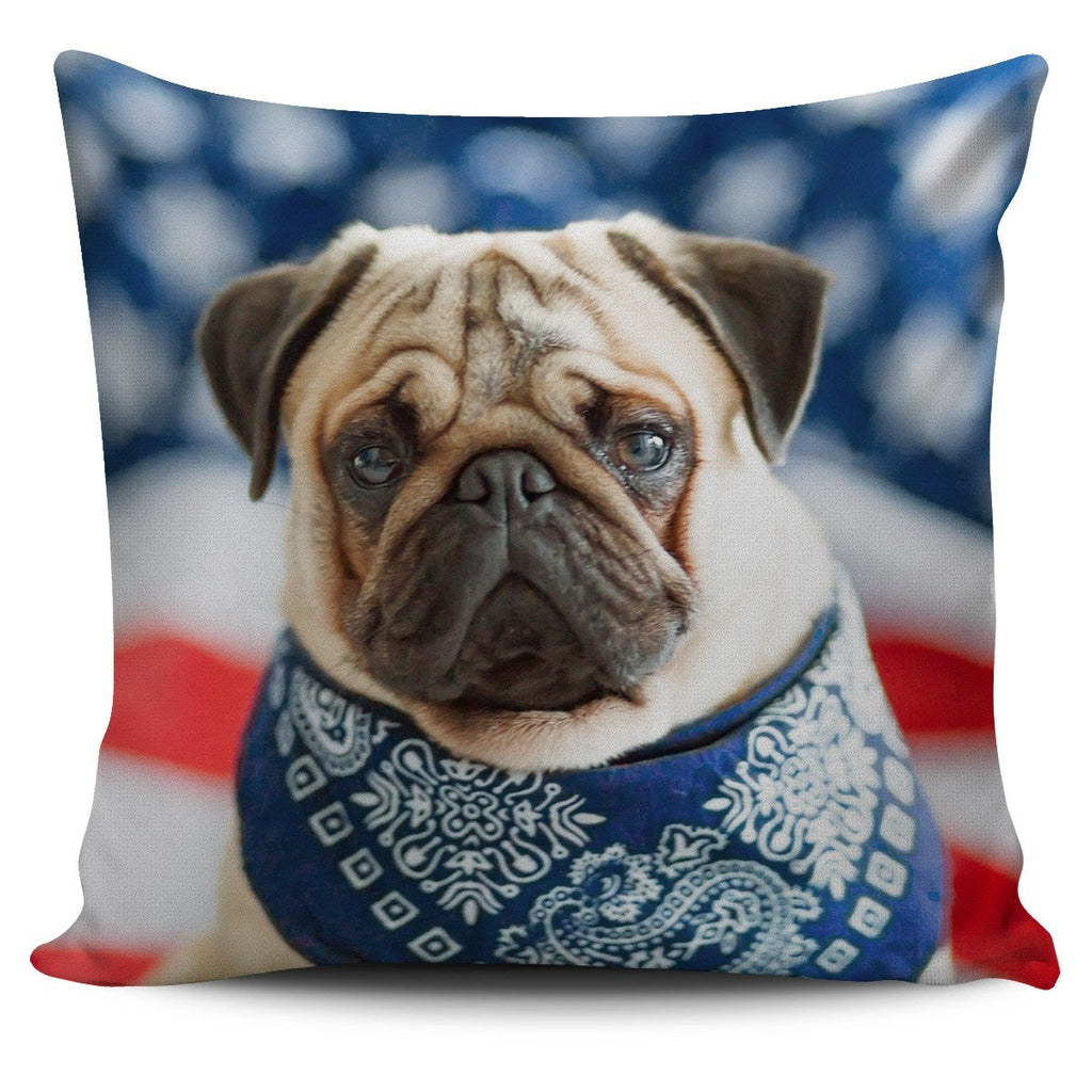 Pug Loving America Pillow Cover - WearItArt - Pillow Covers