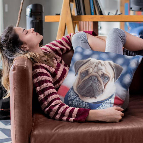 Image of Pug Loving America Pillow Cover - WearItArt - Pillow Covers