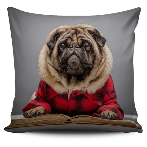 Image of Pug Ready for Winter Pillow Cover - WearItArt - Pillow Covers