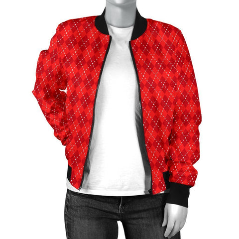 Red Argyle Womens Bomber Jacket - WearItArt - Jacket