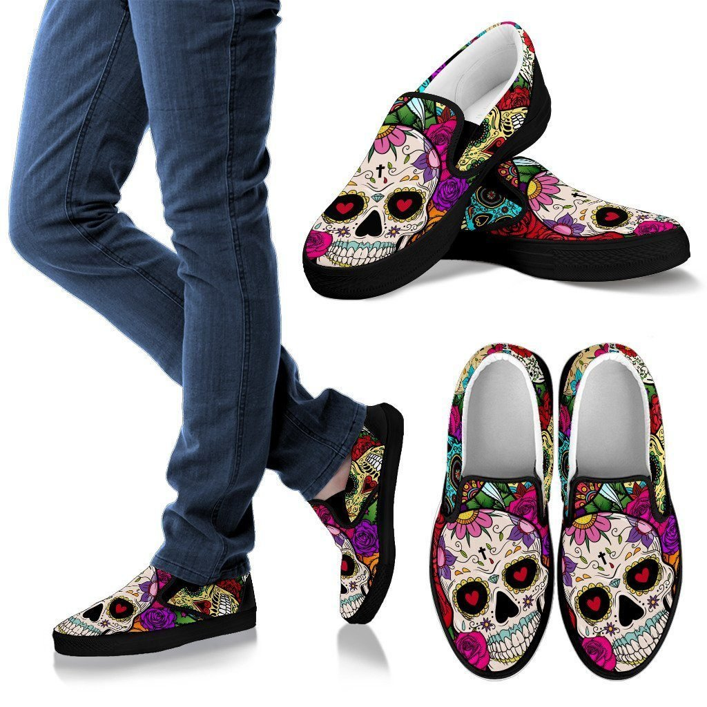 Sugar Skull Men's Slip Ons - WearItArt - shoes