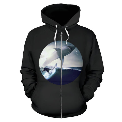 Image of Surfer and Shark Print Zip-Up Hoodie - WearItArt - Hoodie