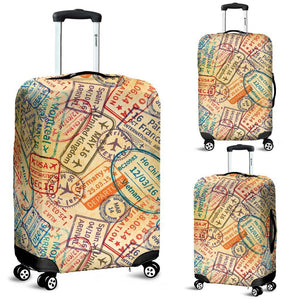 Travel Stamps Luggage Cover - WearItArt - Luggage Covers