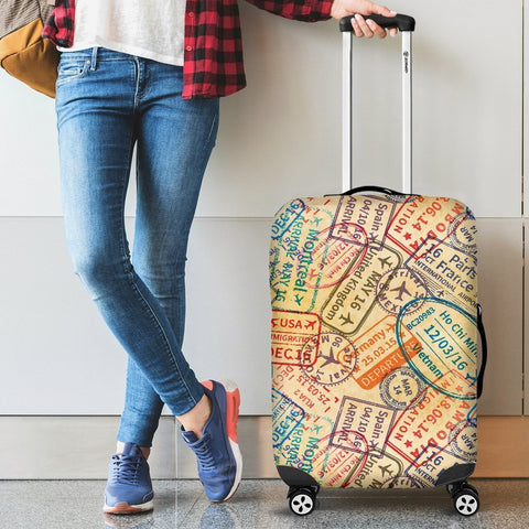 Image of Travel Stamps Luggage Cover - WearItArt - Luggage Covers