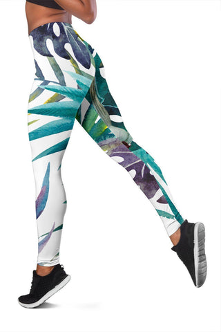 White Tropical Leaf Leggings - WearItArt - leggings