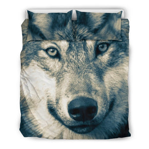 Wolf Head Beige Bedding Set - WearItArt - Bedding Set