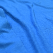 Blue long sleeve hemp shirt close up