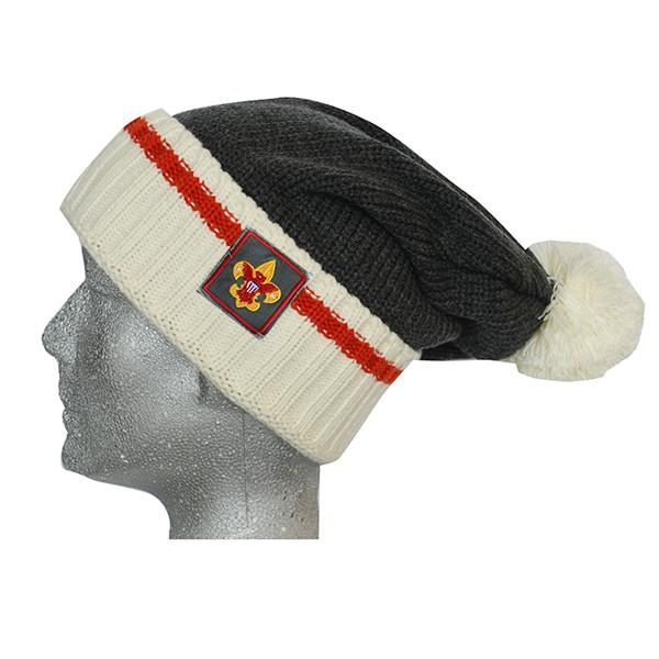 Liberty X Boy Scouts of America ®, Charcoal and Cream with Orange Stripe Sock Beanie