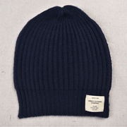 Ladies Cashmere Knit Beanie navy blue