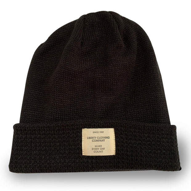 Black Slouchie Beanie with Label