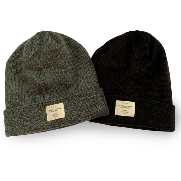 Black and grey Slouchie Beanies with Label