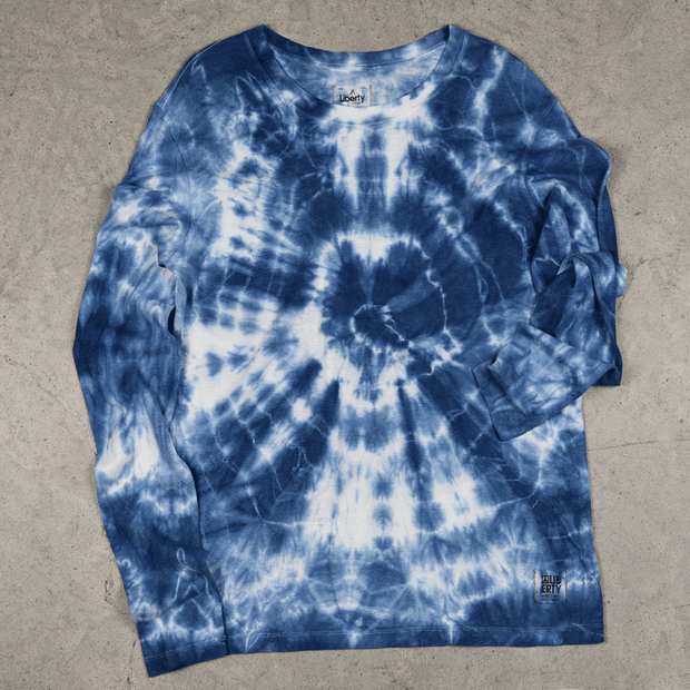 Long sleeve hemp shirt tie-dye blue