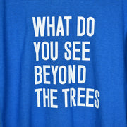 What do you see beyond the trees blue hemp long sleeve shirt close up