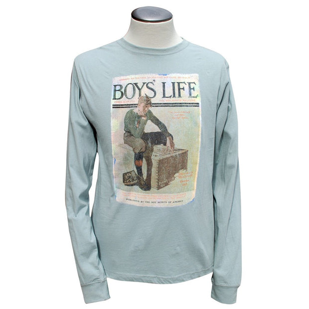 Norman Rockwell - Boy on Trunk, Sea Glass Long Sleeve T Shirt