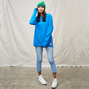 Blue women's hemp crewneck shirt