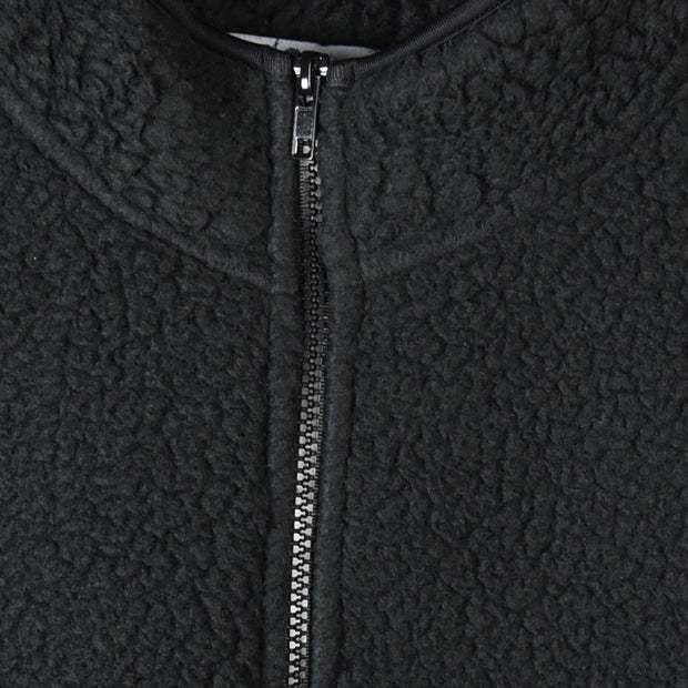 1/4 zip pullover jacket close up (black)