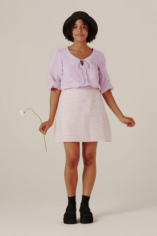 Shenae Mini Skirt - Lilac Gingham