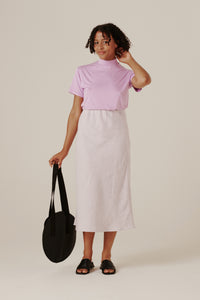 Peggy Bias Skirt - Lilac Gingham