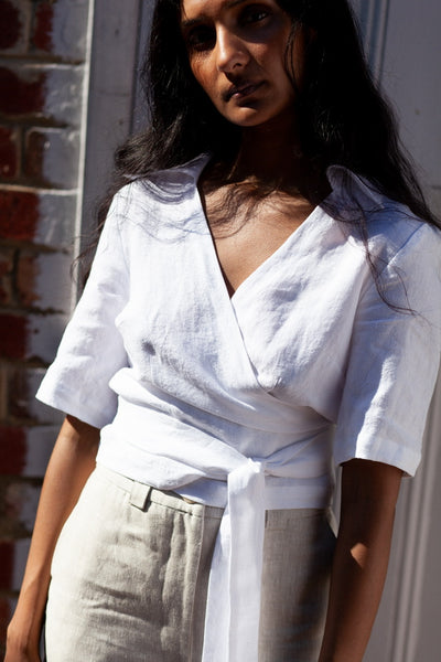 Farrah Wrap Top - White - Form By T