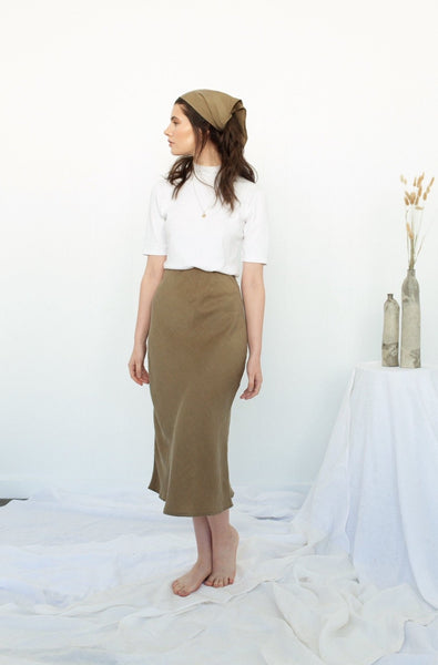 Peggy Bias Skirt - Olive