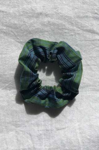 Hair Scrunchie - Green Tartan