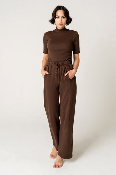 Organic Cotton Wide Leg Lounge Pants - Chocolate