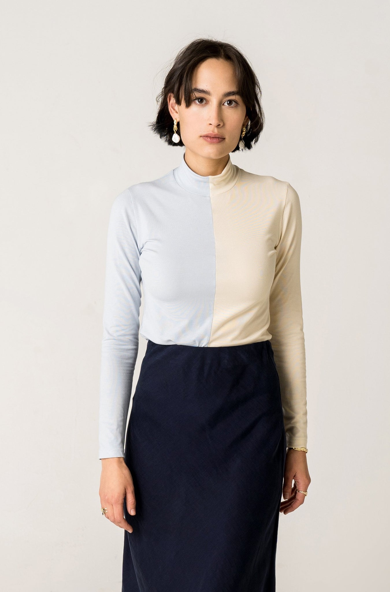 Lynh Two-tone Skivvy - Vanilla / Blue