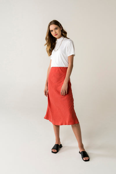 Peggy Bias Skirt - Cherry