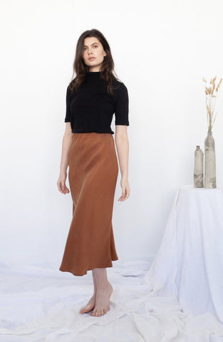 Peggy Bias Skirt - Tobacco