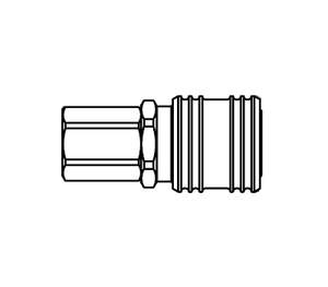 1000E Eaton 1000 Series Female Socket 1/4-18 Female NPTF Buna-N Pneumatic Quick Disconnect Coupling - Brass