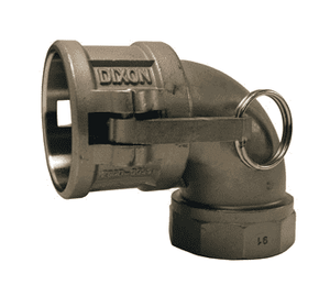 "400D-90SS Dixon 4"" 316 Stainless Steel Type D Cam and Groove 90 deg. Elbow - Female Coupler x Female NPT"