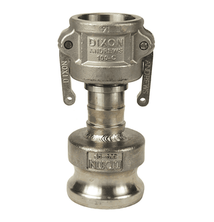 "1015-DA-SS Dixon 1"" x 1-1/2"" 316 Stainless Steel Reducing Cam and Groove Coupler x Adapter"