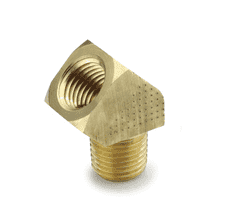 "10491 Nycoil Brass Pipe Fitting - 45 deg. Street Elbow - 1/4"" Female Pipe Thread x 1/4"" Male Pipe Thread - Pack of 10"