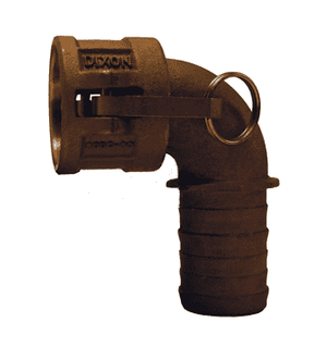 "125C-90BR Dixon 1-1/4"" Brass Type C Cam and Groove 90 deg. Elbow - Female Coupler x Hose Shank"